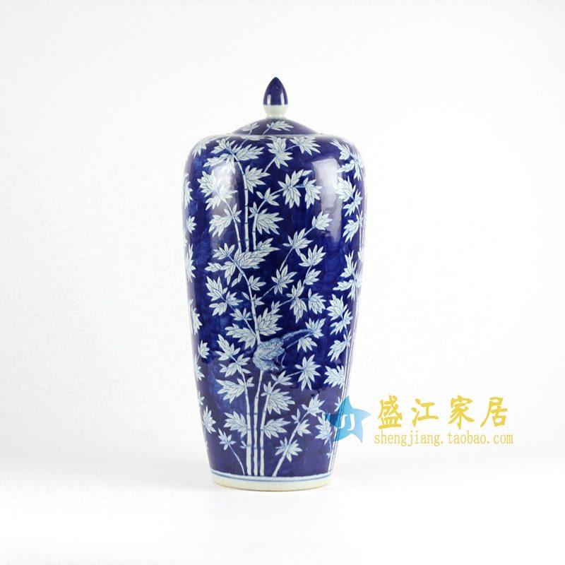 RYLU67-D 青花手绘竹子大罐子盖罐
