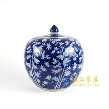 RYLU68-D手绘青花储物罐 苹果罐