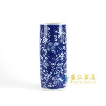 RYLU70-A   景德镇  青花手绘花鸟花插  艺术摆件品