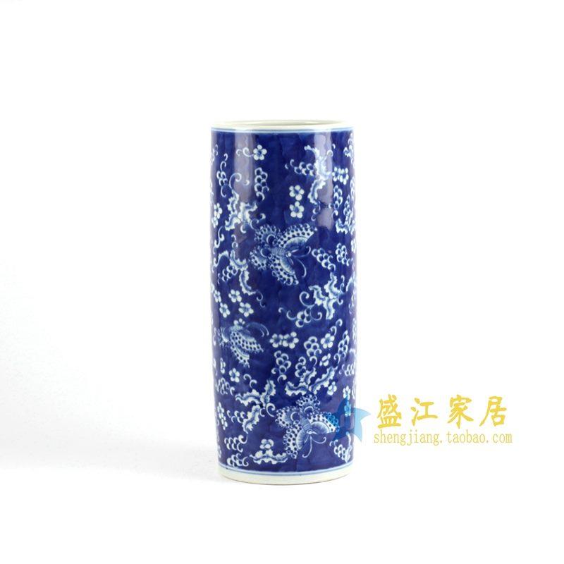 景德镇  青花手绘花鸟花插  艺术摆件品