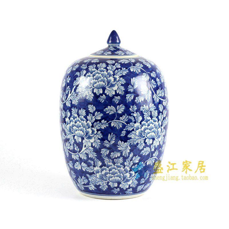 RYLU71-A青花手绘牡丹冬瓜坛盖罐
