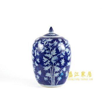 RYLU71-C青花手绘竹子冬瓜坛盖罐
