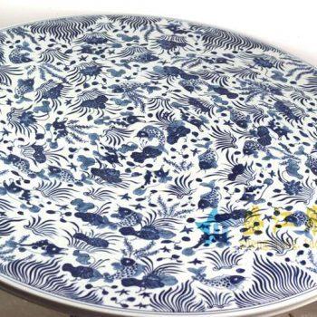 RYLU72 青花手绘鱼草瓷桌
