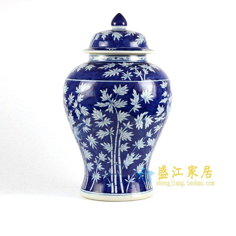 RYLU77-B 青花手绘竹子将军罐