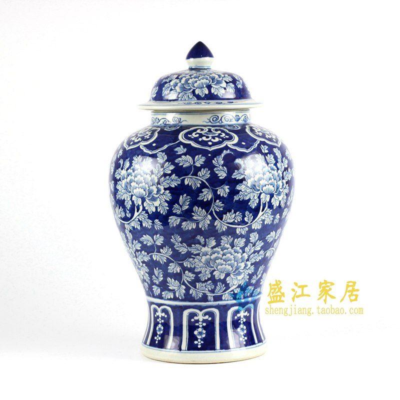 RYLU77-C 青花手绘牡丹将军罐