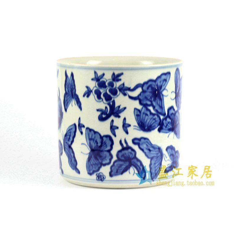 RYLU82 青花手绘花鸟笔筒