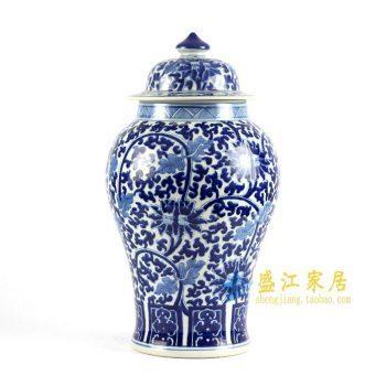 RYLU83-B 青花手绘将军罐