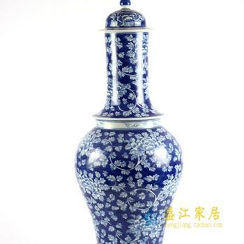 RYLU86 青花手绘牡丹花瓶摆件