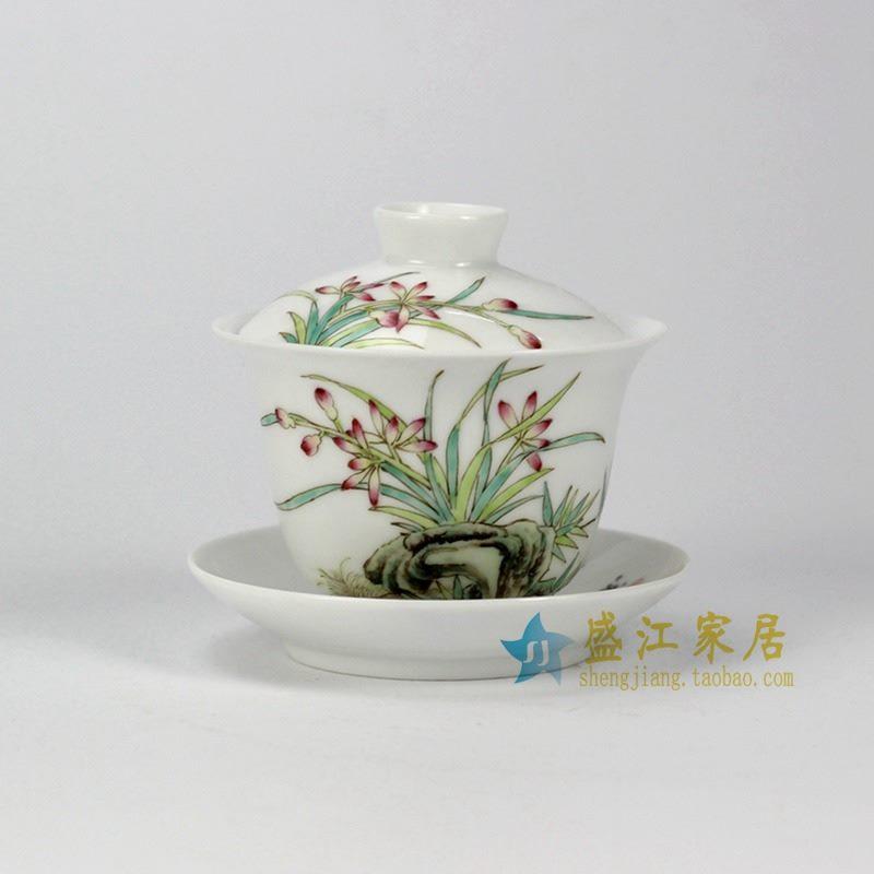 RYNY24-A 手绘粉彩兰花盖碗
