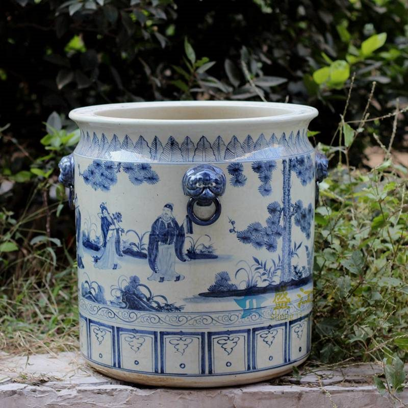 RZFH02-B 青花手绘人物八仙过海直筒 花盆 大缸
