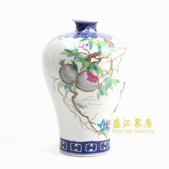 RZGU02  手绘青花斗彩梅瓶