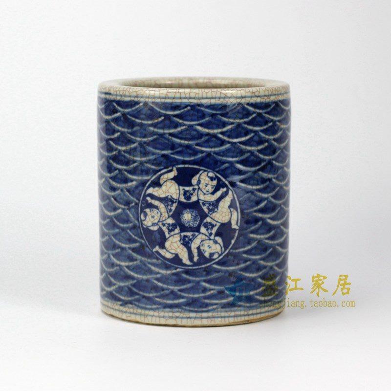 rzho01 手绘青花哥窑开片裂纹 童子 海水波浪纹 笔筒