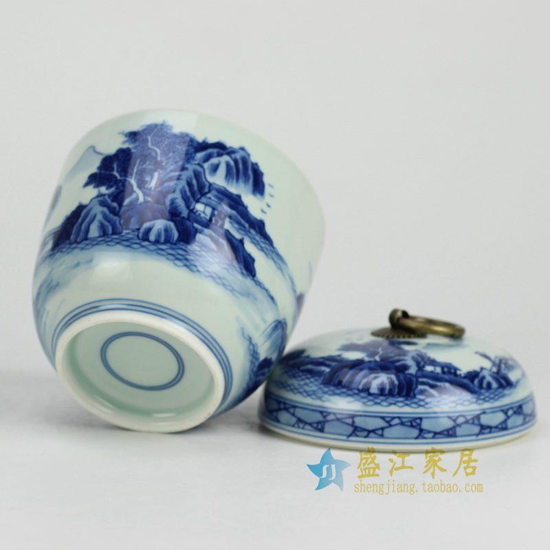 RZCC05 盛江陶瓷 纯手工手绘青花山水铜勾茶叶罐 盖罐 储物罐