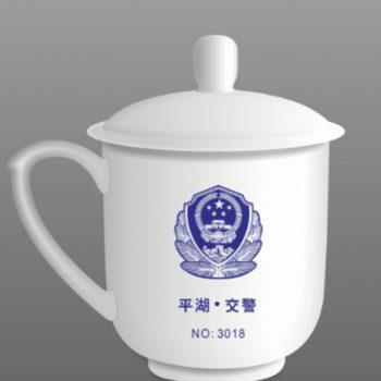 为平湖交警定制的骨瓷办公杯 专业定制办公礼品杯印logo