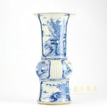 RZHQ01-RZJI青花瓷花瓶 手绘全手工景德镇山水人物乡村花菇