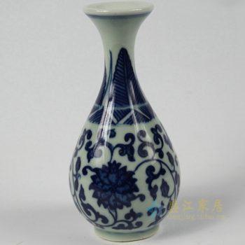 5384-RZEV01-P    景德镇   青花瓷   缠枝莲花瓶      艺术摆件品