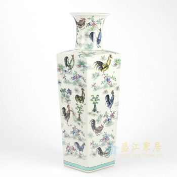 RYYQ02手绘四方花瓶 画鸡