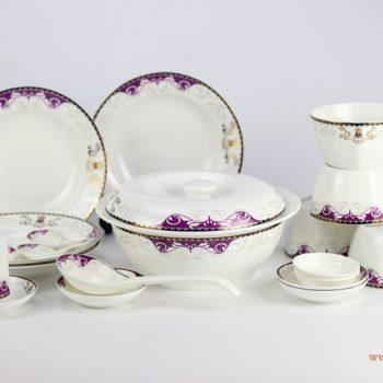 DZ-RZHF02紫色金边 伊丝布尔 骨质瓷 餐具