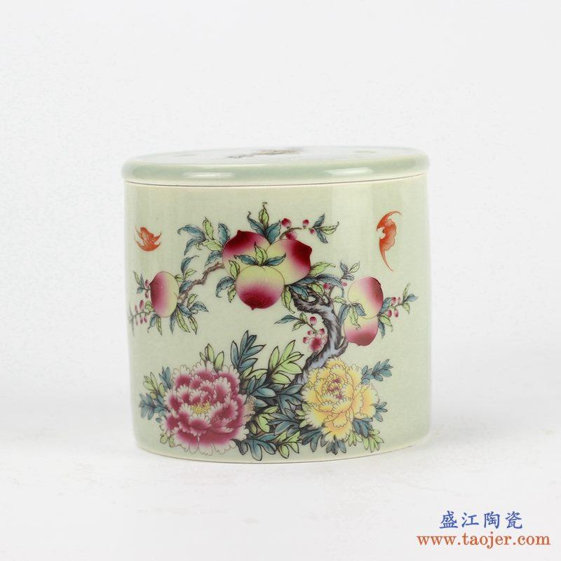 粉彩 寿桃  蟋蟀罐