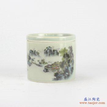 RYBE11-O墨彩山水风光 粉彩 蟋蟀罐