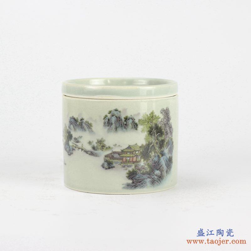 墨彩山水风光 茶叶罐