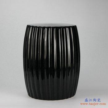 RYIR114-A 亚光黑 条纹状 陶瓷凳子 瓷墩 凉墩