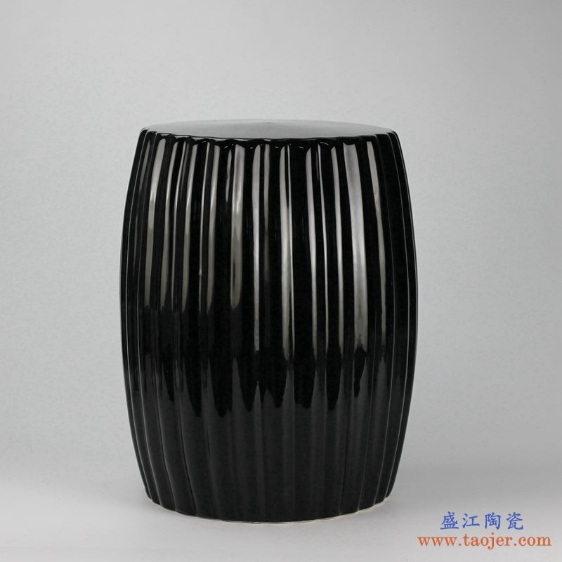 景德镇亚光黑 条纹状 陶瓷凳子 瓷墩 凉墩