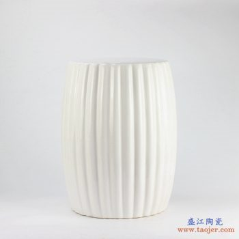 RYIR114-B    景德镇  条纹乳白色  凉墩  陶瓷凳子 浴室凳子