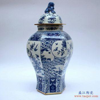 RYJF63-B   景德镇 青花仿古 多边形将军罐  花瓶  艺术摆件品