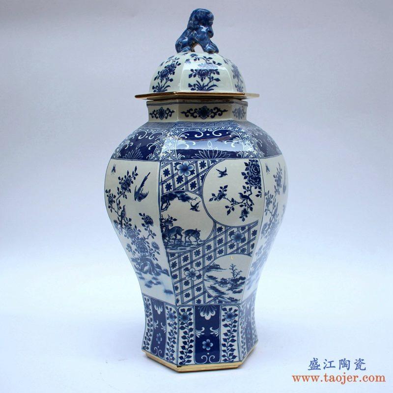 景德镇 青花仿古 多边形将军罐  花瓶  艺术摆件品