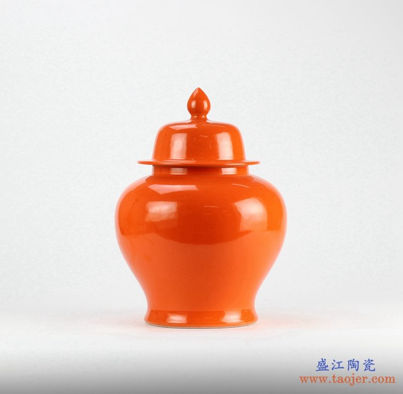 景德镇  颜色釉  红釉 橙色 将军罐 艺术花瓶  摆件品