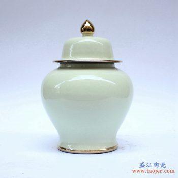 RYKB131-I   景德镇 浅绿  颜色釉  将军罐  艺术花瓶 摆件品
