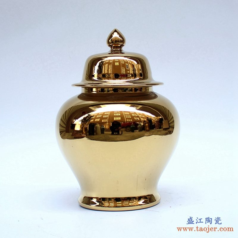 景德镇  镀金 黄金色  将军罐  艺术花瓶  摆件品