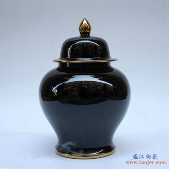 RYKB131-K    景德镇  乌金釉 颜色釉 将军罐  艺术花瓶  摆件品