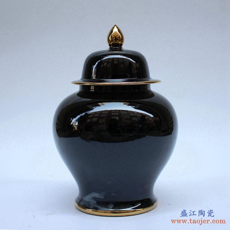 景德镇  乌金釉 颜色釉 将军罐  艺术花瓶  摆件品