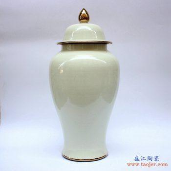 RYKB140-C 景德镇 颜色釉 乳黄色 将军罐 艺术花瓶 摆件品