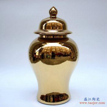 RYKB140-E   景德镇 镀金 黄金色   颜色釉  将军罐  艺术花瓶
