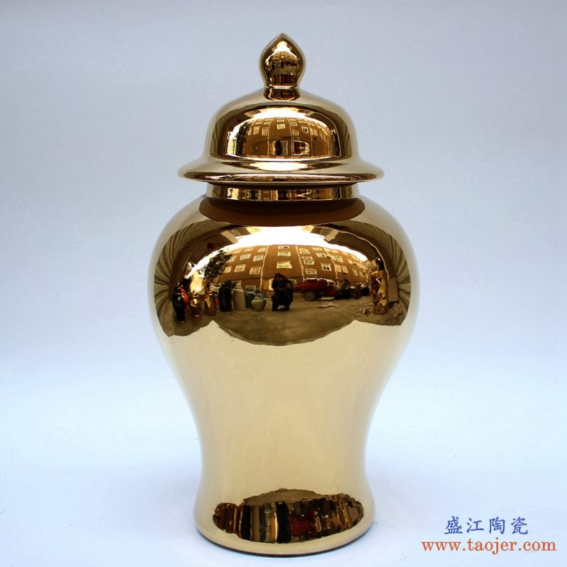 景德镇 镀金 黄金色   颜色釉  将军罐  艺术花瓶