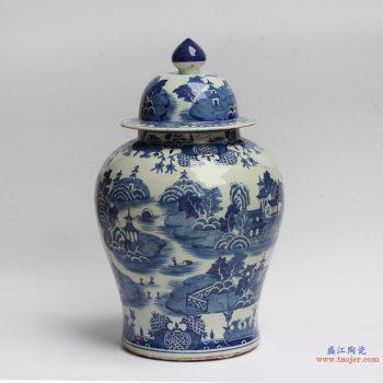 RYLU90   景德镇  青花瓷 仿古 山水将军罐  艺术花瓶