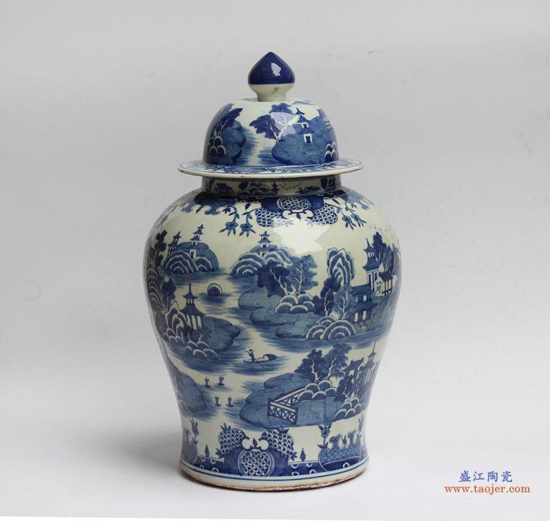 景德镇  青花瓷 仿古 山水将军罐  艺术花瓶