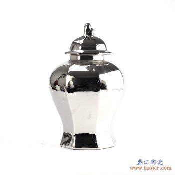 RYNQ166-B  景德镇 镀银 多边形将军罐 花瓶  艺术摆件品