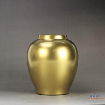 RYNQ188  景德镇  镀金 黄金色 高档陶瓷花瓶 花插 艺术花瓶 摆件品