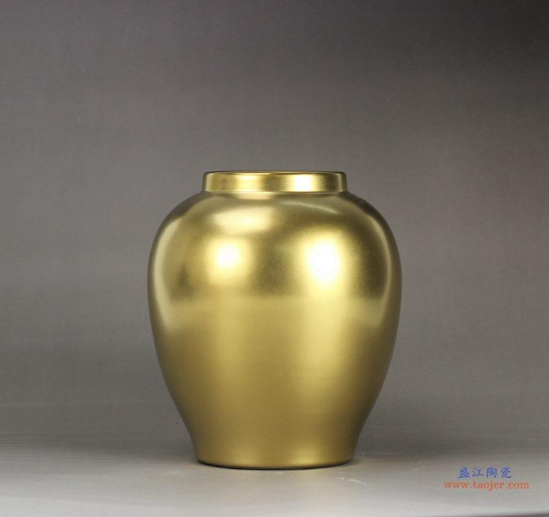 景德镇  镀金 黄金色 高档陶瓷花瓶 花插 艺术花瓶 摆件品
