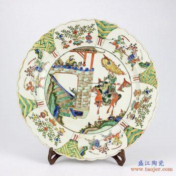 RYQQ36-OLD  景德镇 人物 粉彩手绘盘子 瓷盘