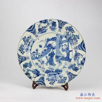 RYQQ44 景德镇  人物 花鸟青花手绘盘子 瓷盘