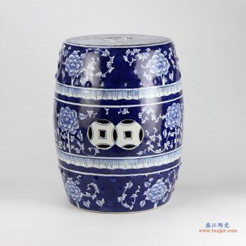 RYTA08-B  景德镇 青花 颜色釉  牡丹花瓷凳  凉墩 陶瓷凳子