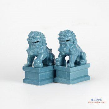 RYXP21-K  景德镇 颜色釉 深蓝  狮子蹲座 摆件品