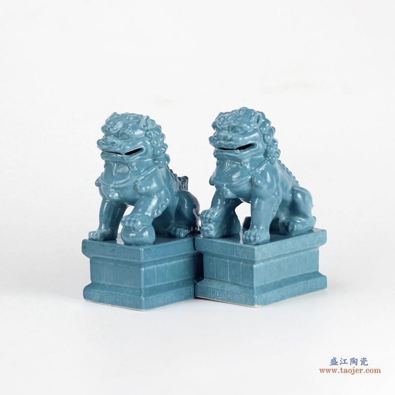 景德镇 颜色釉 深蓝 狮子蹲座 摆件品