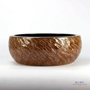 RYXW-YL-DZ-03   景德镇  雕刻 双层 高温  手工艺术卫浴浴室台盆洗手盆洗脸盆台上盆