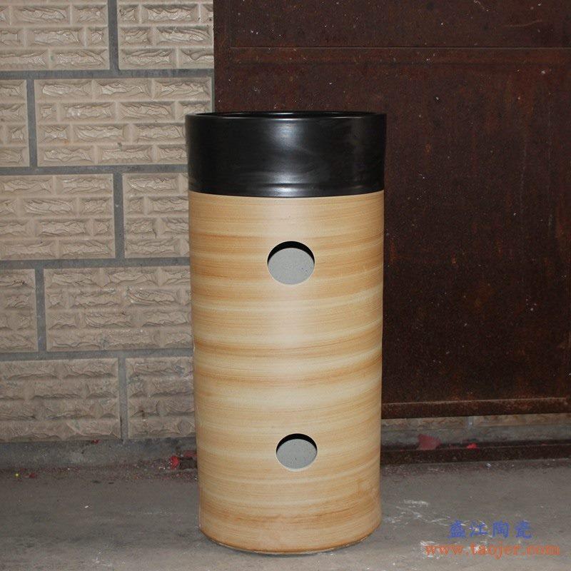 高温颜色釉窑变 陶泥风格 手工艺术卫浴浴室台盆 台柱一体套组